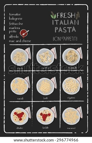 Pasta menu, poster on chalkboard. - stock vector