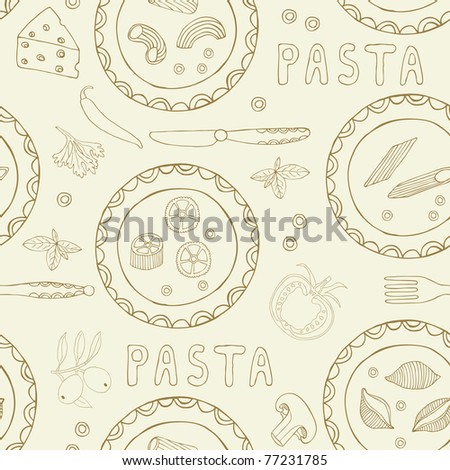 pasta seamless background - stock vector
