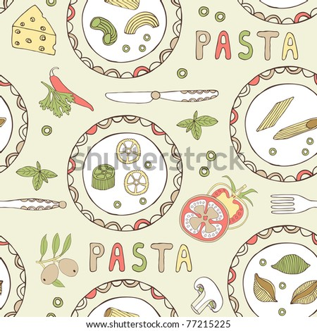 pasta seamless pattern - stock vector