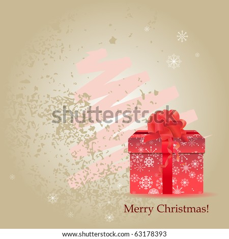 Pastel background with christmas gift box with big bow