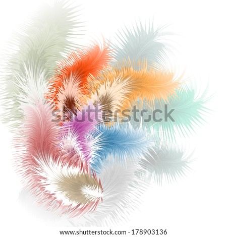 Pastel background with feather, vector illustration - stock vector