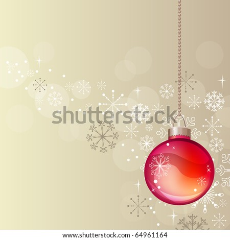Pastel Christmas background with hanging red ball - stock vector