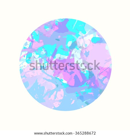 Pastel colored blue and pink artistic paint splashes in a circle. - stock vector