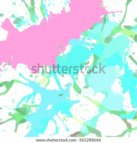 Pastel colored pink and blue artistic paint splashes, square format. - stock vector