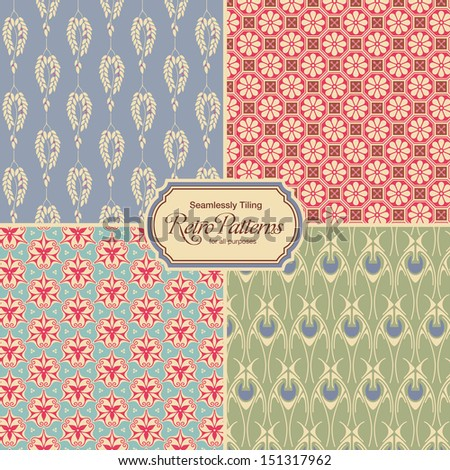 pastel-colored retro patterns - set of four vintage designs (seamlessly tiling) - stock vector