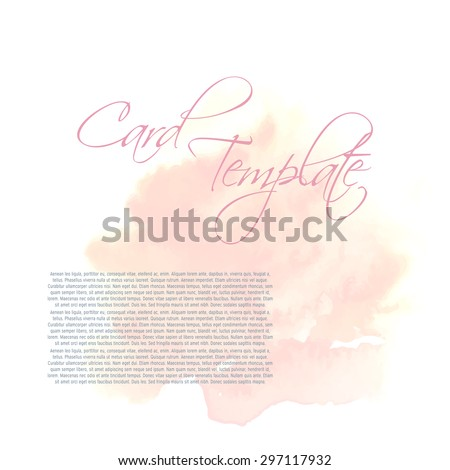 Pastel colors card template. Hand drawn watercolor spot on back ground. - stock vector