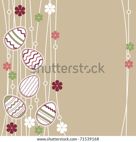 Pastel greeting card with different easter eggs - stock vector