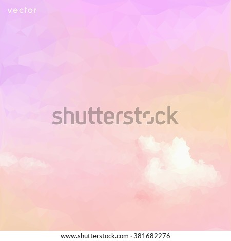Pastel on clouds, low poly style vector - stock vector