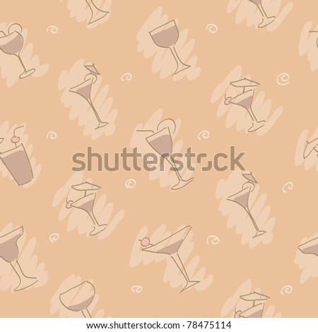 Pastel pattern with wineglasses - stock vector