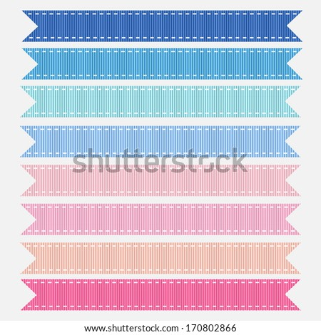 Pastel Pink and Blue Grosgrain Ribbons for a baby shower. Vector Illustration. Also see other color sets.  - stock vector