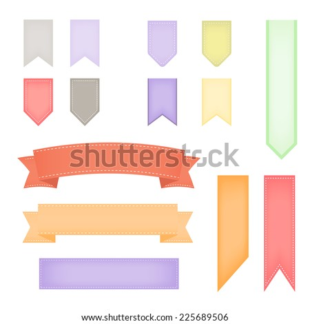 Pastel Ribbon banners collection - stock vector