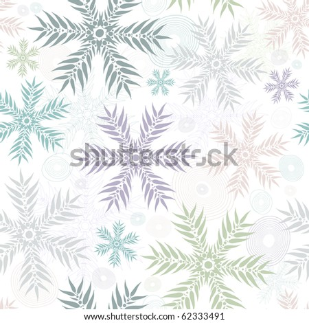 Pastel seamless christmas white floral gentle pattern (vector) - stock vector