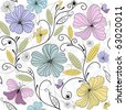 Pastel seamless floral pattern with flowers and butterflies (vector) - stock vector