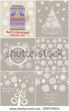 Pastel templates with snowflakes pattern for winter holidays - stock vector
