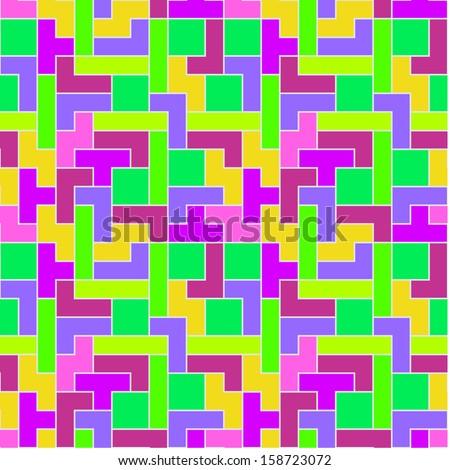 Pastel Tetris Pattern - stock vector