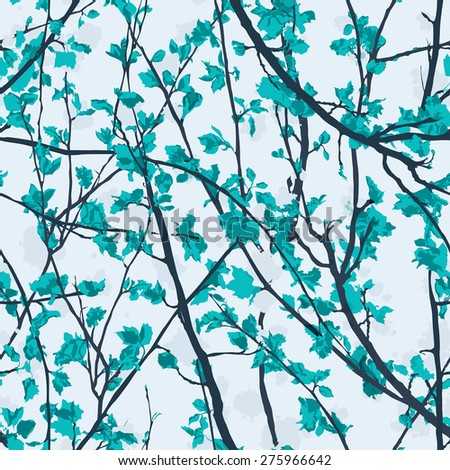 Pastel tree brunches seamless pattern background - stock vector