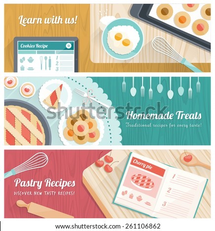 Pastry and cooking banners set with kitchen tools and sweets - stock vector