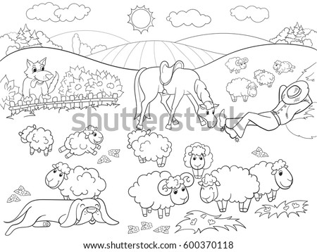 sheep and dogs coloring pages - photo#13