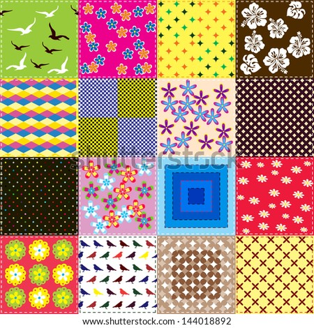 Patchwork background with different pattern / Seamless pattern with scrap quilt  - stock vector
