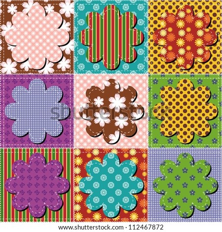 patchwork background with seamless background pattern vector festive ...
