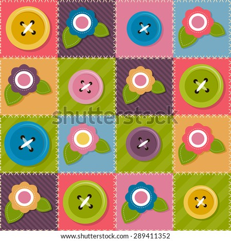 Patchwork background with flowers and sewing buttons - stock vector