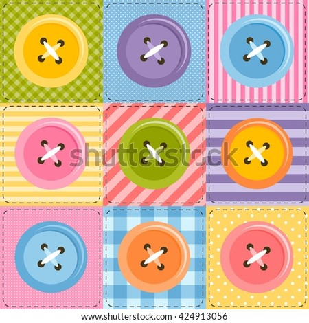 patchwork background with sewing buttons - stock vector