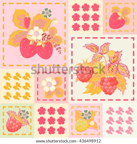 Patchwork background with strawberries and raspberries. Seamless vector pattern. Pink orange white backdrop. - stock vector