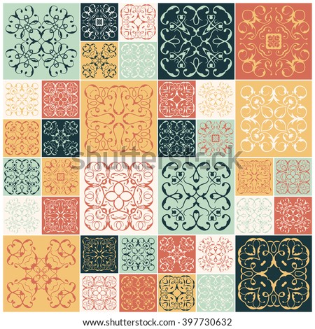 Patchwork design. Colorful square tiles, floral ornaments. For wallpaper print, pattern fills, web background, surface textures