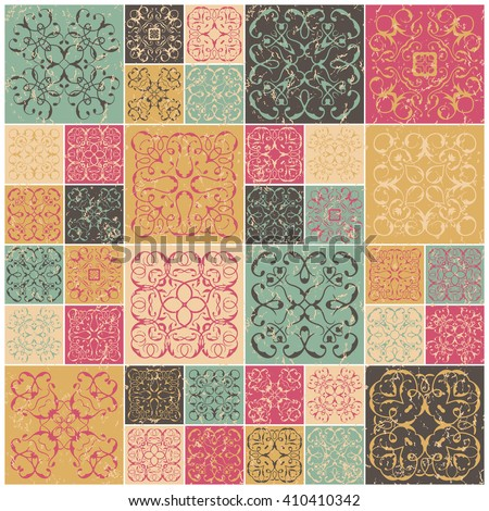 Patchwork design. Colorful square tiles with floral ornaments. For wallpaper print, pattern fills, web background. Grunge design