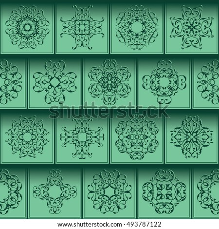 Patchwork design. Square tiles with floral ornaments. For wallpaper print, pattern fills, web background