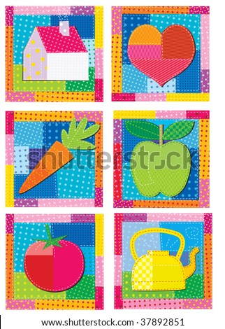 patchwork eating - stock vector