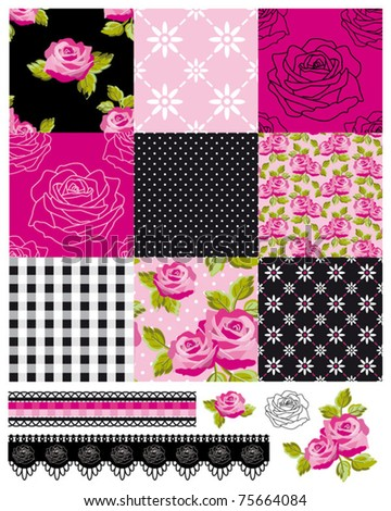 Patchwork Floral Rose Pattern and trims. Use to print onto fabric or paper craft projects. - stock vector
