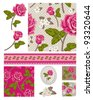 Patchwork Floral Rose Patterns and trims. Use to print onto fabric or paper craft projects. - stock photo