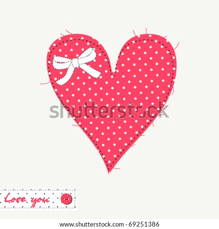 Patchwork heart of polka dot fabric - stock vector
