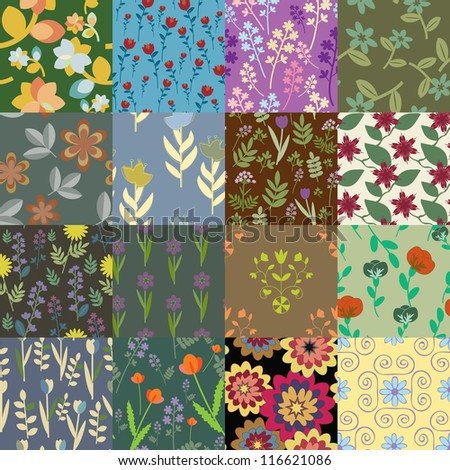 Patchwork of seamless floral patterns - stock vector