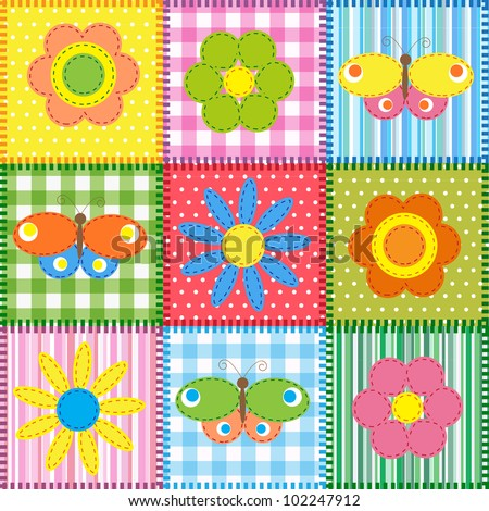 Patchwork with butterflies and flowers. Baby seamless background - stock vector