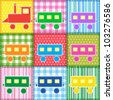 Patchwork with colorful train. Baby seamless background - stock vector
