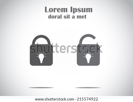 patent idea or patented solution locked or protected bright glowing yellow light bulb lock set - stock vector