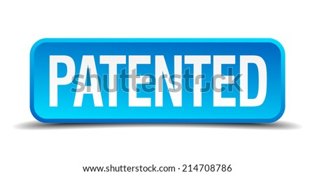Patented blue 3d realistic square isolated button - stock vector