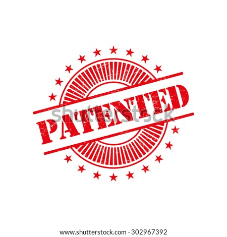 Patented grunge retro red isolated stamp - stock vector