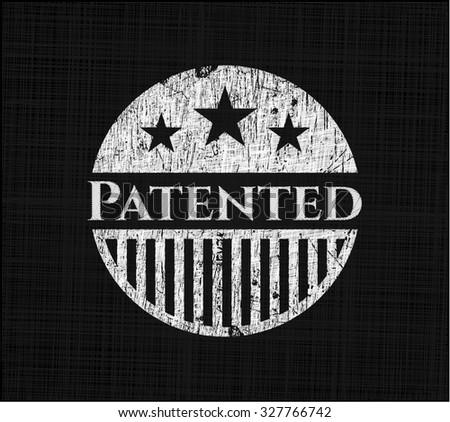 Patented on blackboard - stock vector