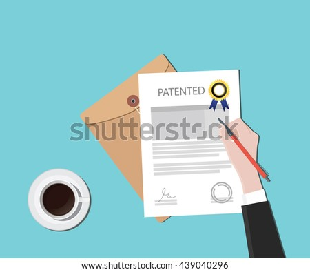 patented patent document with badge and stamp vector graphic illustration - stock vector