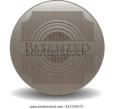 Patented wood icon or emblem - stock vector