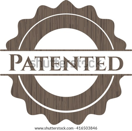 Patented wooden emblem. Retro - stock vector