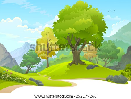 Path through a serene forest  - stock vector