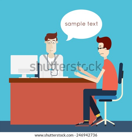 Patient at the doctor. Medical Examination. Flat design vector Illustration.  - stock vector