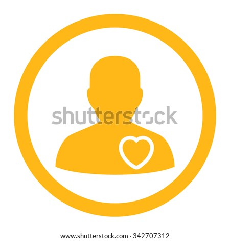 Patient Heart vector icon. Style is flat rounded symbol, yellow color, rounded angles, white background. - stock vector