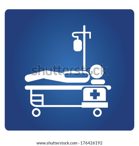 patient lying on bed, medical bed, patient bed - stock vector