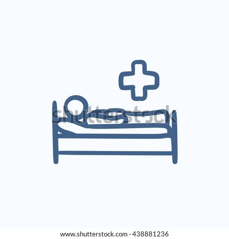 Patient lying on bed vector sketch icon isolated on background. Hand drawn Patient lying on bed icon. Patient lying on bed sketch icon for infographic, website or app. - stock vector