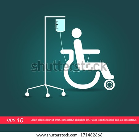 patient on wheelchair with the saline vector icon - stock vector